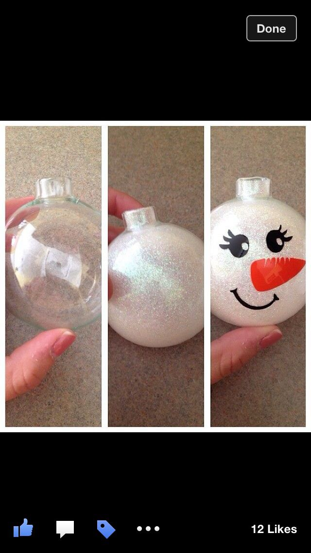 Snowman glitter ornaments with vinyl #GlitterOrnaments