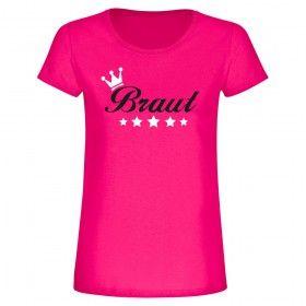 """T-Shirt """"Braut mit Krone und Sternen"""" in pink zum Junggesellinnenabschied"""