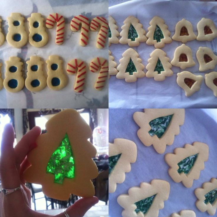 Stained glass Christmas themed cookies