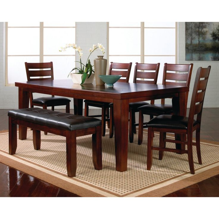 crown mark kingston dining room table, chairs & bench (sold at