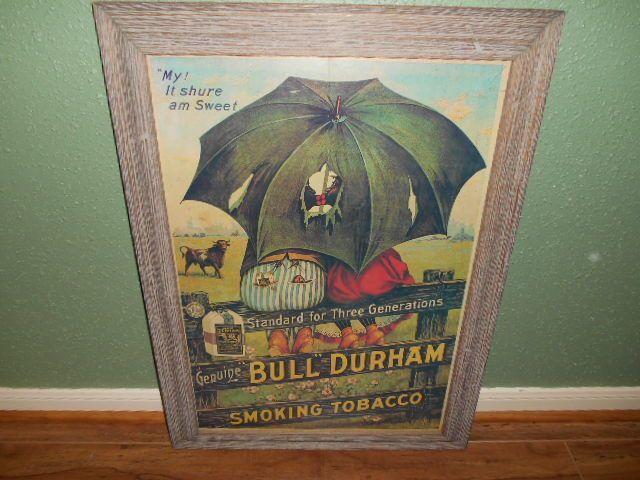 Vintage Bull Durham Black Americana Smoking Tobacco Advertising Poster Framed