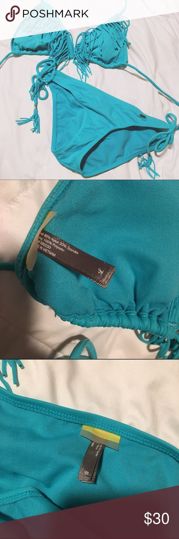 LA Hearts Teal Fringe Bikini Super cute teal fringe bikini by LA hearts. worn and washed once. Runs small - top is a large and I am a D Cup and it's way too small. Would fit a B or C. Bottoms are a medium but would fit a small! LA Hearts Swim Bikinis