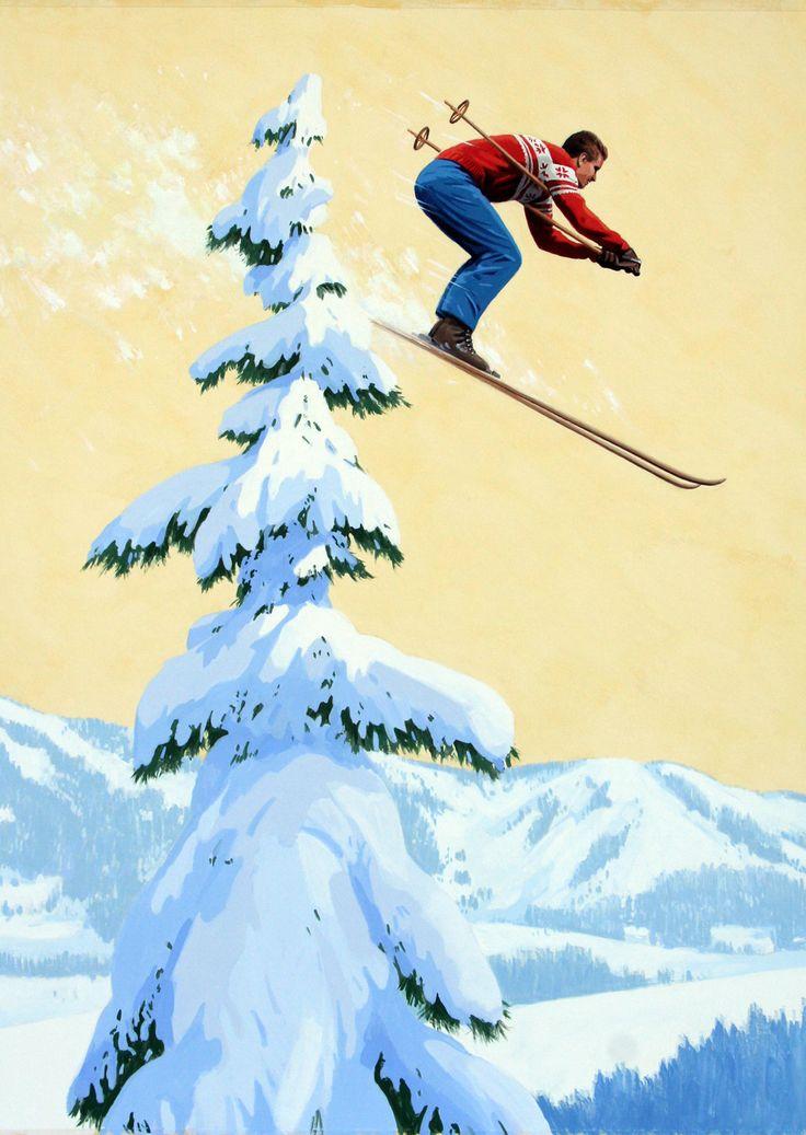 Vintage Ski Maine Poster Detail