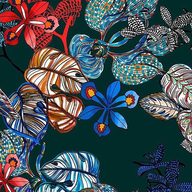 New colorful hand drawn tropical print based on my latest ...