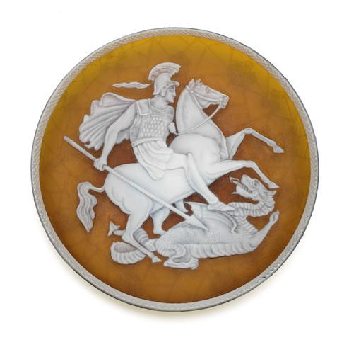 An English cameo glass plaque of Russian interest, late 19th century, possibly Stevens and Williams.