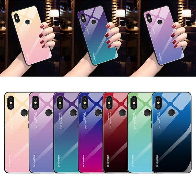 Gradient Tempered Glass Case For Xiaomi Mi 8 Lite Mi A2 Lite A1 Mix 3 Redmi 6 Pro 5 Plus 6a Note 5 6 Pro 7 6 Pocophone F1 Case Xiaomi Note 5 Pattern Phone Case