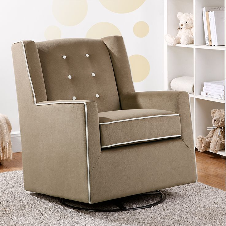 Add a touch of modern style and classic charm with the Baby Relax Emmett Button Tufted Swivel Glider in coffee. This glider features a square silhouette with a track arm design, soft-to-the-touch upholstery, button-tufting on the back rest, and elegant welt detail trim.
