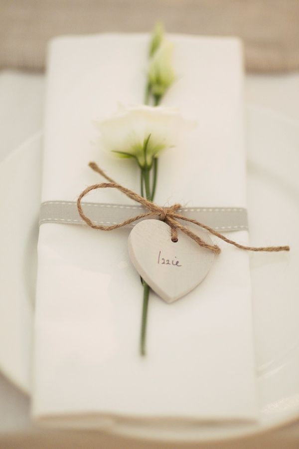 NAPKIN - simple white napkin with burlap twine and name card and flower