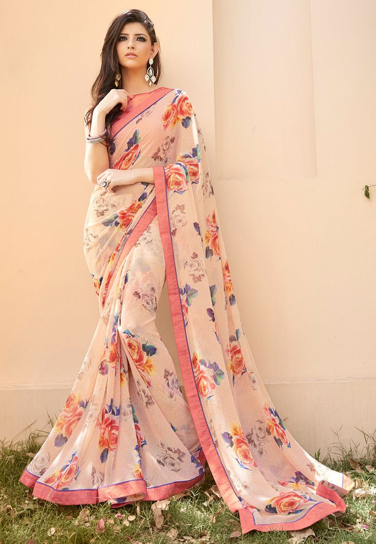 Printed Georgette Saree in Peach