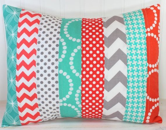 Nursery Cushion Cover, Patchwork Pillow Cover, Nursery Decor, 12 x 16 Inches, Coral, Teal Blue, Mint Green, Tiffany Blue and Gray Chevron