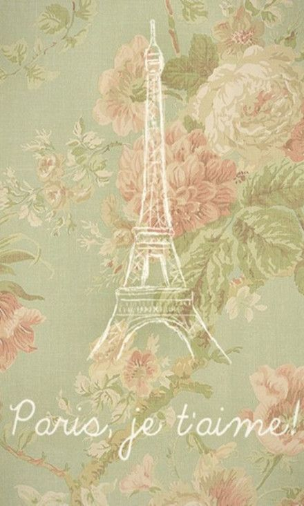 Wallpaper - Eiffel Tower on a flower fabric background