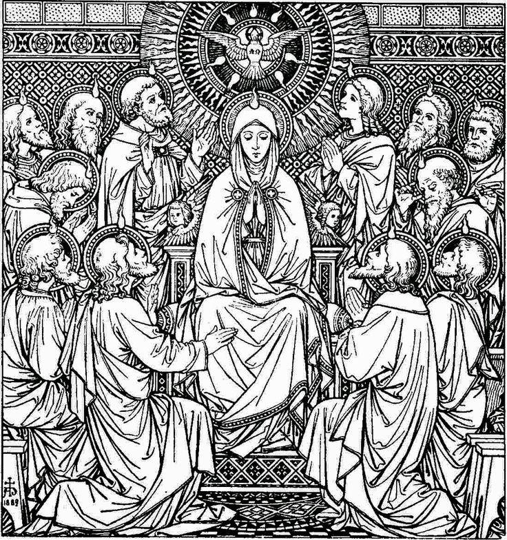 Catholic line art black and white