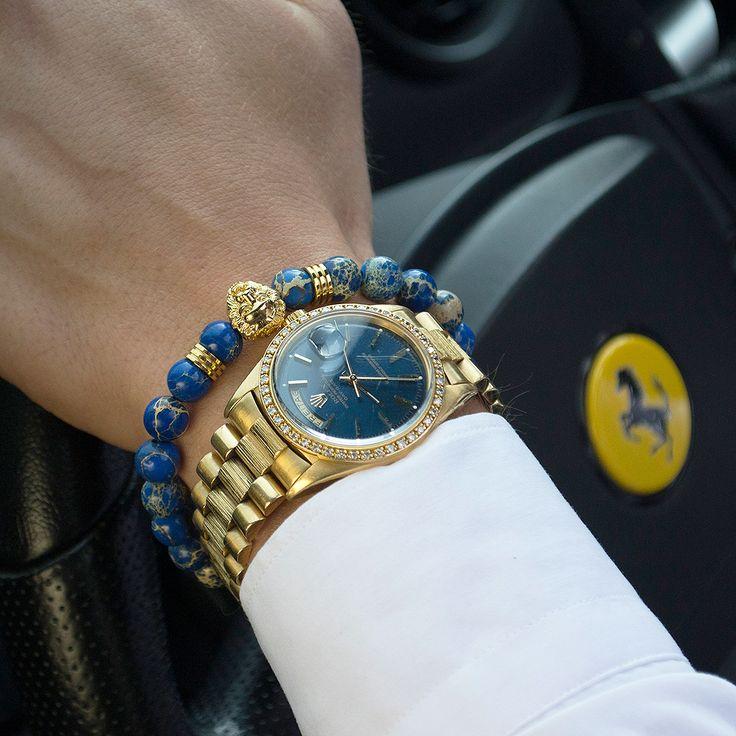 Gold and blue is a perfect combination for a bold look! Get them on www.obelizk.com #obelizk #obelizk_bracelets #menstyle #mensfashion #armband #watchporn #watch #watches #Bracelet #Jewelry #Hublot #RichardMille #AudemarsPiguet #Rolex #Cartier #UlysseNardin #Hermes #LouisVuitton #Watches #Fashion #Design #TheBillionairesClub #WatchAnish #Tourbillon #breitling