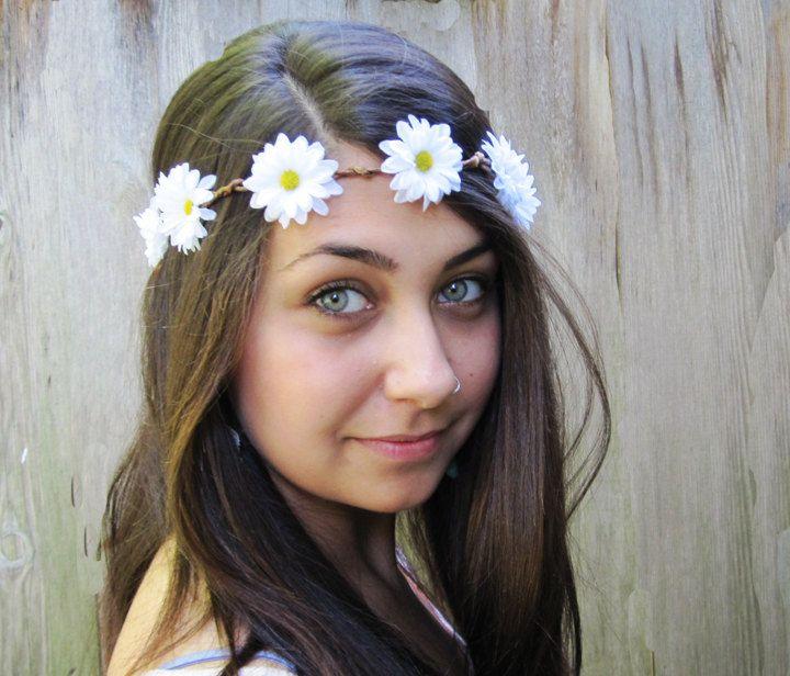 Daisy Chain Flower Crown - Daisy Headband, White Daisy Hair Wreath, Hippie Headband, Daisy Crown, Teen Gift Idea, Gift Under 30, Rave Wear. $28.00, via Etsy.