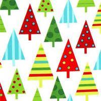 Winter Christmas Trees On White - 1/2 yard
