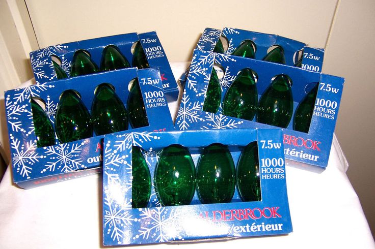 20 green Christmas Light Bulbs 7.5 watt Alderbrook outdoor NIB #Alderbrook