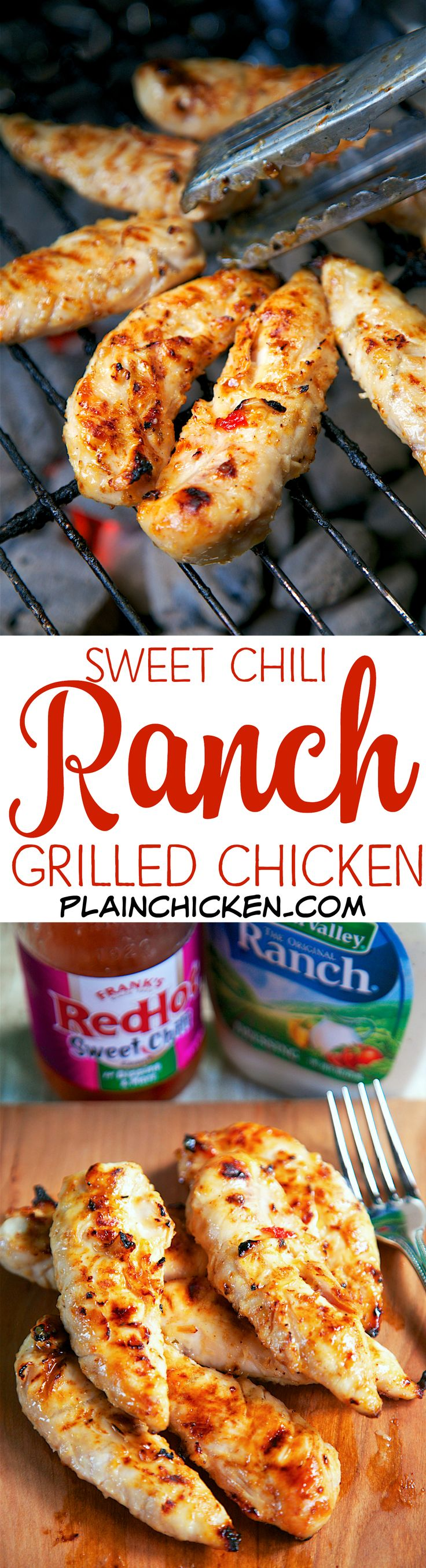 Sweet Chili Ranch Grilled Chicken - only 2 ingredients in the marinade! Let the chicken marinate a few hours to overnight for maximum flavor. OMG! This chicken was CRAZY good! We made it two nights in a row. Great as a main dish or on top of a salad. Perfect for tailgating too!!