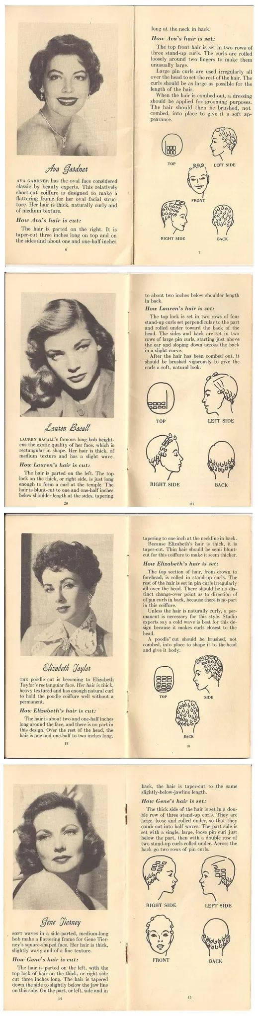 Original vintage how to book pages on how to do retro hollywood hair, where to set rollers on your head and picture of end result, fabulous!!!!   #tutorial #1950s