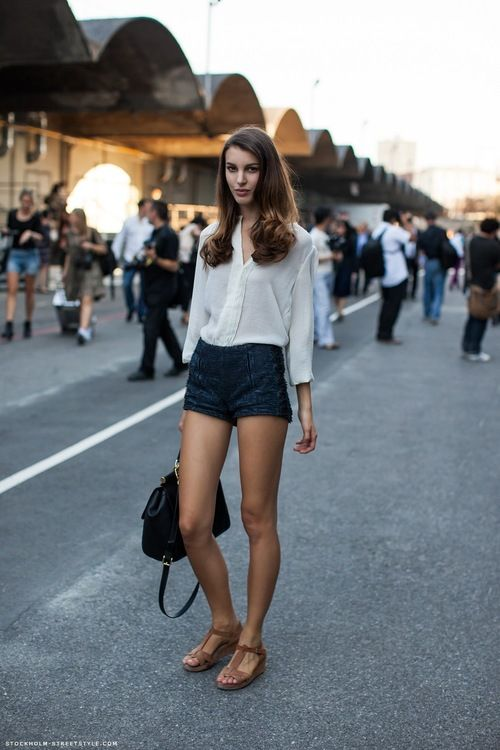 jean shorts / gauzy blouse / legs for miles: Models Off Duty, Kate King, Stockholm Street Style, White Shirts, Summer Outfits, Models Street Style, White Blouses, Jeans Shorts, High Waist Shorts