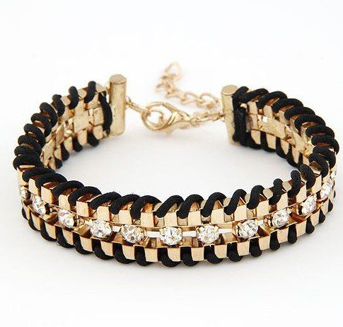 B312 New 2014 Fancy Brand Bracelets Women Jewelry Gift 18K Real Gold Plated hand-woven Rhinestone Chain Bracelets & Bangles!724
