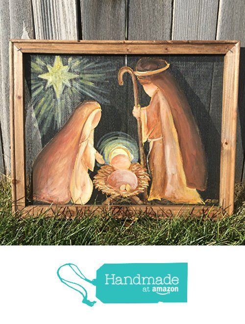 Nativity, hand painted nativity scene on window screen, with a recycled wood frame from RebecaFlottArts http://www.amazon.com/dp/B018UL4LKK/ref=hnd_sw_r_pi_dp_dMYxwb1NGXQN2 #handmadeatamazon