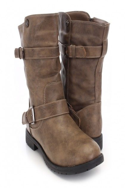 Cognac Faux Leather Mid-Calf Boots