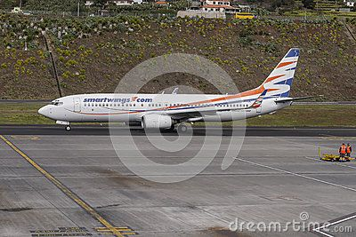 Plane landing at the airport of Funchal at Madeira, Portugal