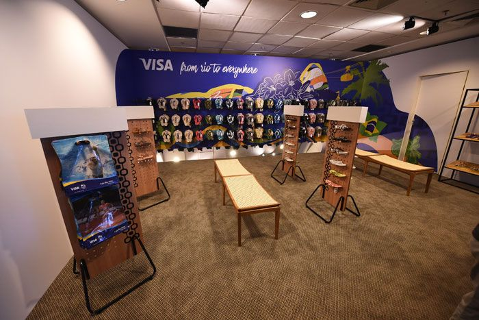 Visa Everywhere Lounge: Visa's members-only lounge was open for the duration of the games at the Windsor Atlantica Hotel in Copacabana. The lounge featured a Rio-theme branded wall decorated with colorful flip-flops for sale.