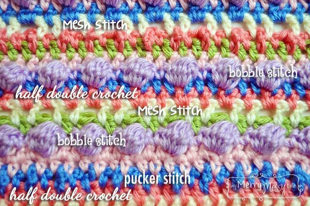 Sugar Love Crochet Baby Blanket - Close-Up of the Stitches Used