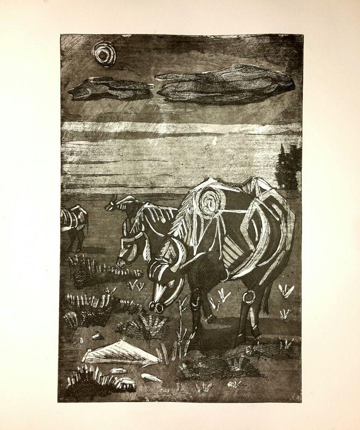 """De bovum Galicum"",soft ground,aquatint,30×20 cm"