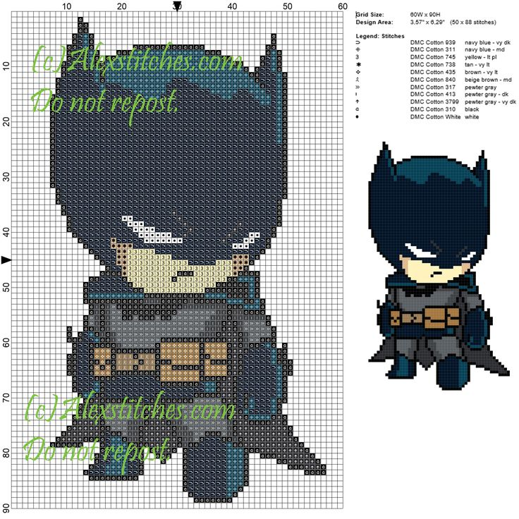Batman cross stitch pattern 60x90 12 colors