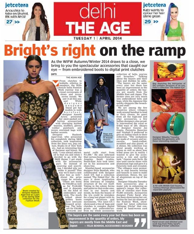 Designer Tanieya Khanuja_  Asian Age Coverage _ 1st April'14