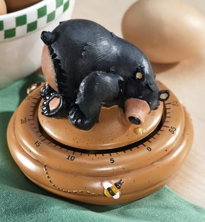 Northwoods Black Bear Honey Pot Decor Kitchen Home Timer Resin 3X4 NEW B3612