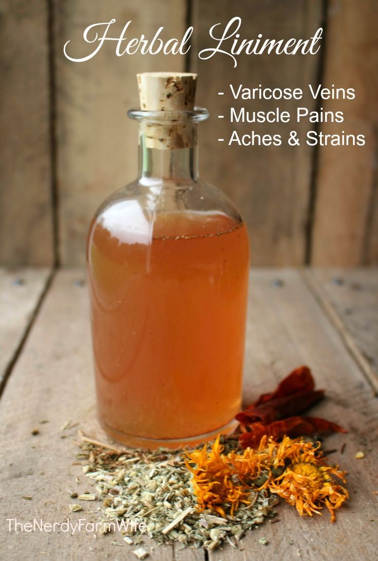 Liniment for Varicose Veins, Muscle Pains & Strains 1 part yarrow 1 part calendula flowers 1 part St. John's wort 1/4 part cayenne or ginger witch hazel