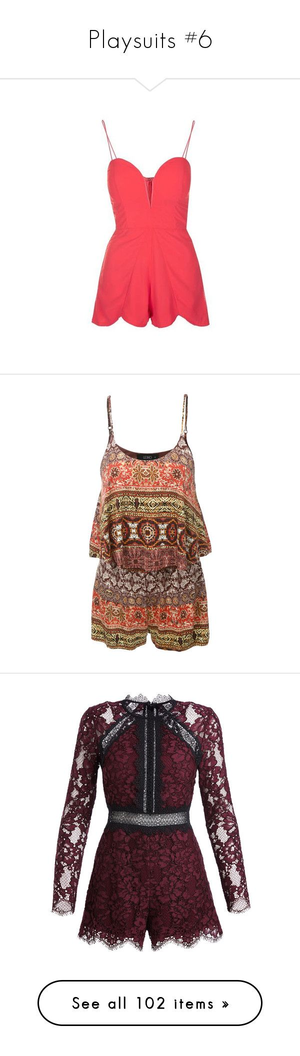 """""""Playsuits #6"""" by xxheystylessxx ❤ liked on Polyvore featuring jumpsuits, rompers, romper, coral, red romper, topshop rompers, chiffon romper, topshop romper, playsuit romper and brown romper"""