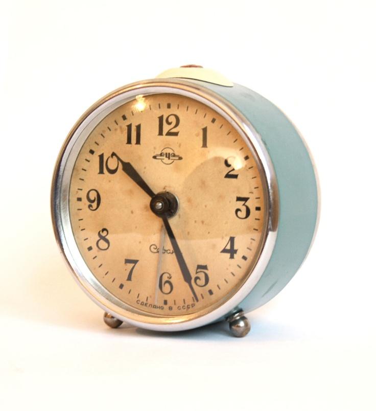 Vintage alarm clock Sevani from Armenia metal color clock ...