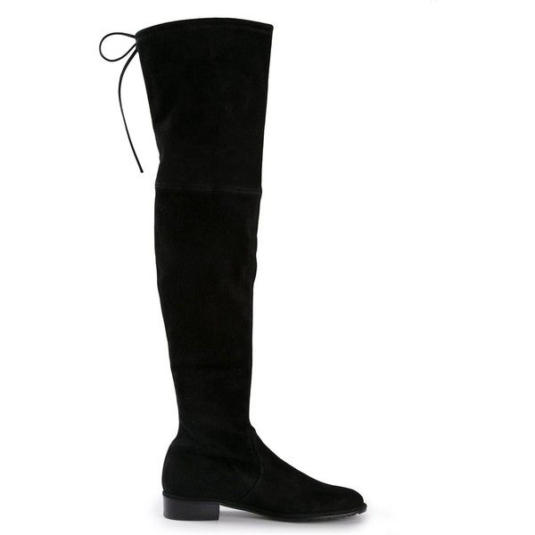 Stuart Weitzman 'Lowland' boots ($1,150) ❤ liked on Polyvore featuring shoes, boots, black, suede shoes, slip on shoes, stuart weitzman boots, black shoes and slip on boots