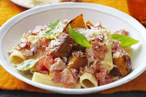 For pure pasta perfection, combine rigatoni with sweet pumpkin and salty bacon.