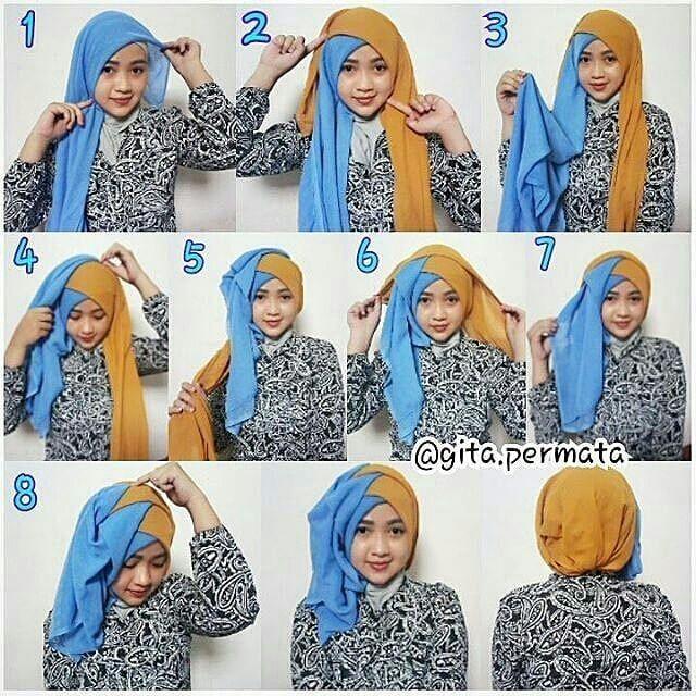 Tutorial Hijab By Gita Permata Hijab Wisuda Pesta Menggunakan 2 Buah Hijab Matt Segiempat Step 1 Lipat Jadi Segitiga Gunakan Menyila Hijab Warna Pesta