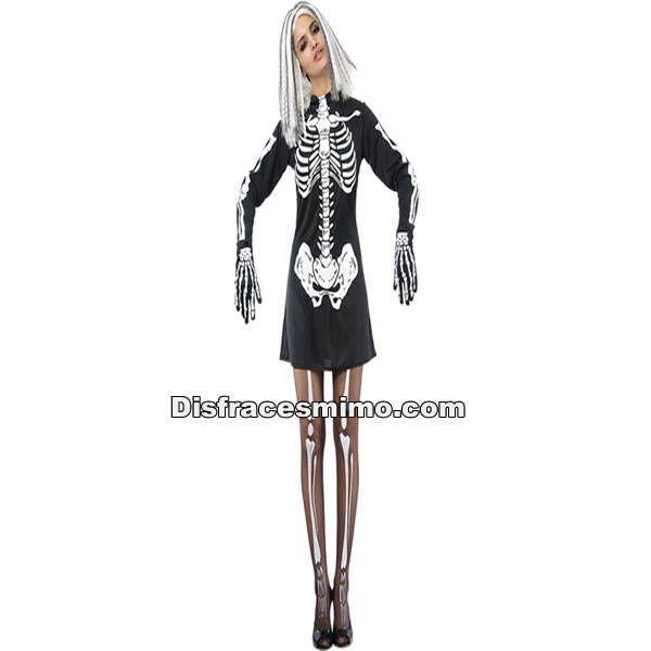 DisfracesMimo, disfraz esqueleto con vestido adulto para mujer talla m/l.Ponte sexy con este disfraz de Esqueleto para mujer en la Fiesta de Terror. En Halloween o en Carnaval pueden perderse por tus huesos si vistes este disfraz sexy con pinceladas de glamour.Este disfraz es ideal para tus fiestas temáticas de disfraces miedo y esqueletos para mujer adultos…