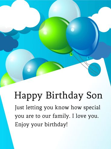 68 best birthday cards for son images on pinterest happy birthday send free to my special son birthday balloon card to loved ones on birthday greeting cards by davia its free and you also can use your own customized bookmarktalkfo Gallery