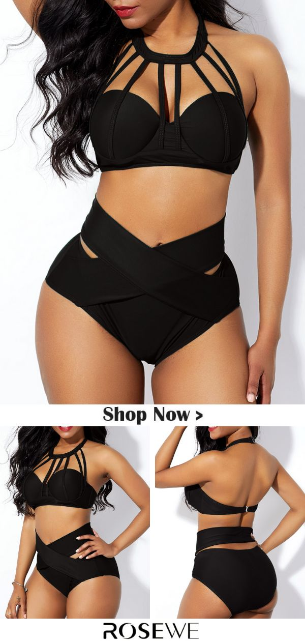 Hot Sale & High Waist Cage Neck Cross Front Bikini Set