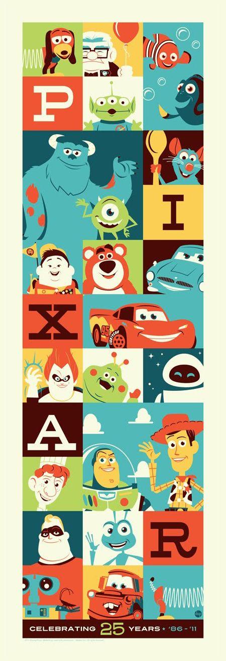 pixaaaaaaaaaar: 25 Years, Pixar Poster, 25Th Anniversaries, Graphics Design, Disney Pixar, Disneypixar, Pixar Movies, Kids Rooms, Dave Perillo