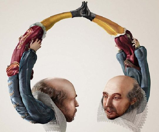 This image is  Constrained Visual Language. This is a headphone which made from two man. The ear parts of the headphone are the man's head which mean they are talking next to your ear. It want to express the idea that the sound from this headphone as real as a man talking next to your ears