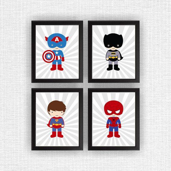Super Hero wall art Nursery Printable Boy Room by myfavoritedecor