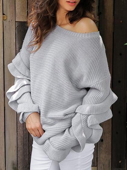 Chicnico Oversize Flounce Solid Color Sweater