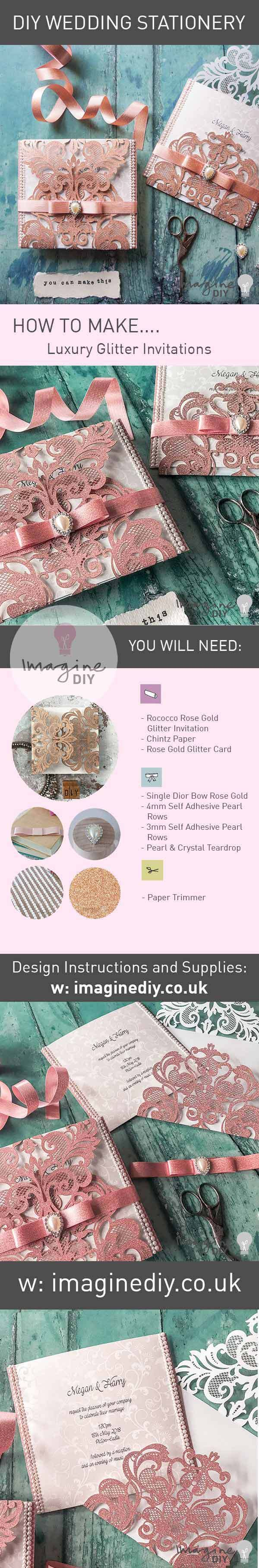 How to make your own luxury glitter wedding invitations with pearls. DIY wedding stationery supplies and instructions from www.imaginediy.co.uk  #copperweddingidea #copperwedding #rosegoldwedding #rosegoldinvitations #diywedding  #diyweddingstationery  #diyweddingideas  #rosegold #makeyourownwedding #imaginediy  #royalwedding #glitterinvites #glitterinvitations #sparklewedding #weddingidea #blushpink #blushpinkwedding #blushpinkweddingidea