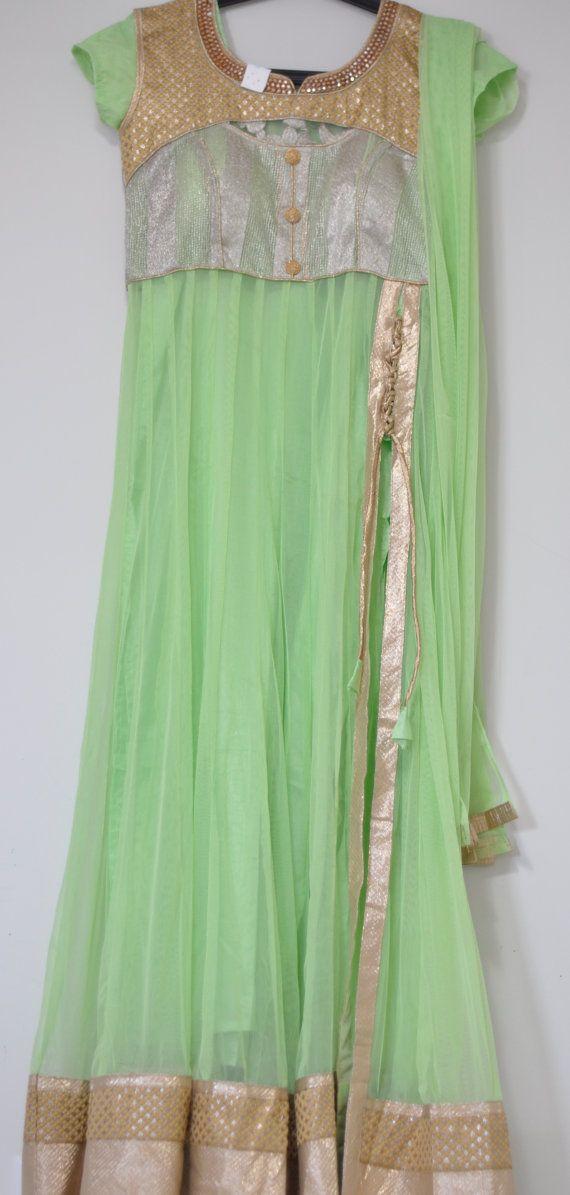 Light Green Abaya Style Anarkali Salwar Kameez with Short Sleeves - Bollywood Churidar by LaxmiFashions