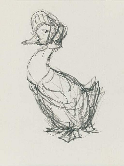 Beatrix Potter, a preparatory sketch for the front cover of The Tale of Jemima Puddle-duck.