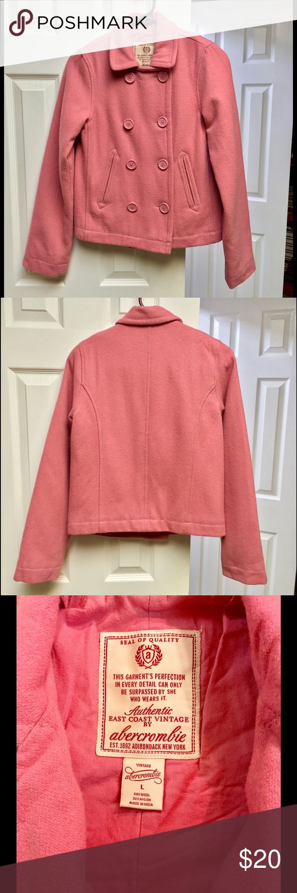 Abercrombie Girls' Pink Coat Lovely salmon pink coat from Abercrombie kids! Very warm. 68% wool 32% nylon. It is in good condition but may have some mild pilling. abercrombie kids Jackets & Coats Pea Coats